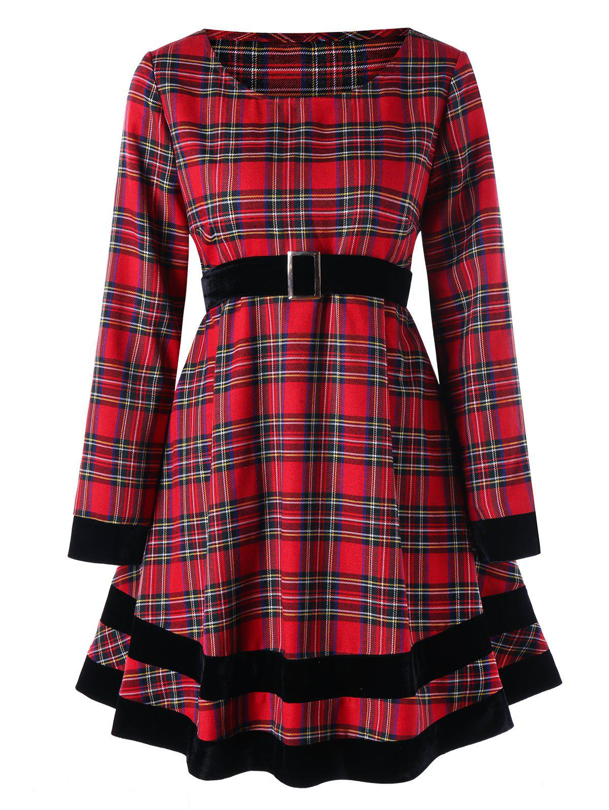 Image of Plus Size Long Sleeve Plaid Dress