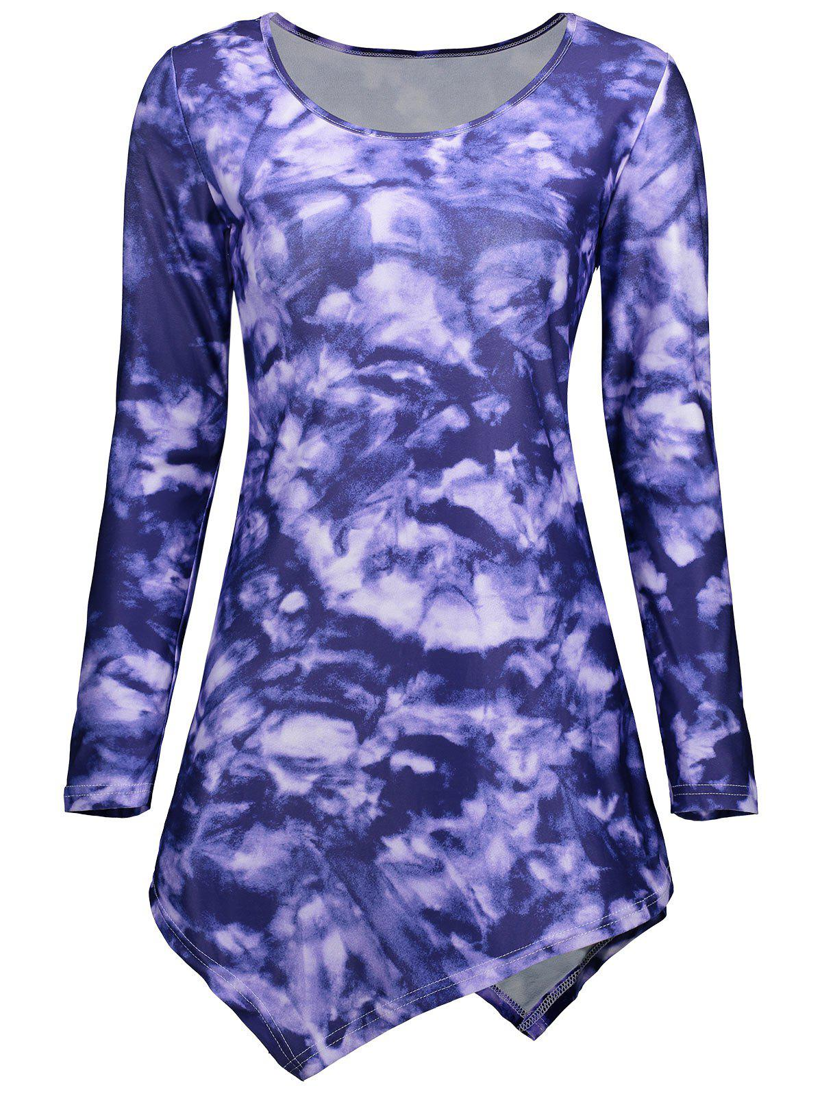 Tie Dye Long Sleeve Asymmetric Dress - PURPLE 2XL