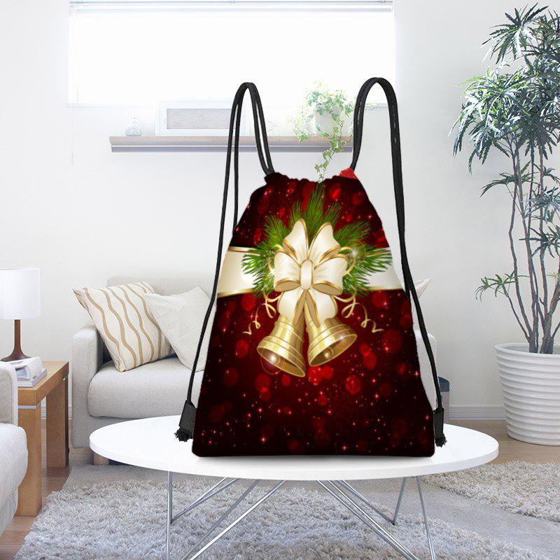Christmas Bells Patterned Candy Gift Drawstring Storage Bag - RED/GOLDEN