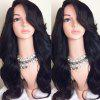 Long Deep Side Parting Wavy Synthetic Wig - BLACK
