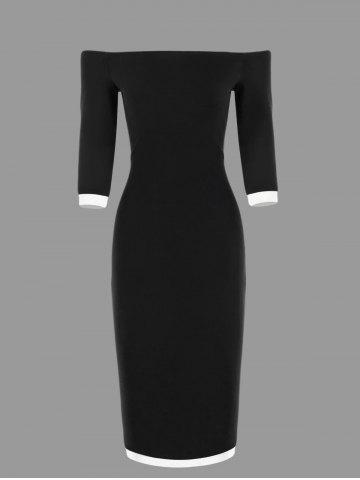 Off The Shoulder Bodycon Two Tone Dress