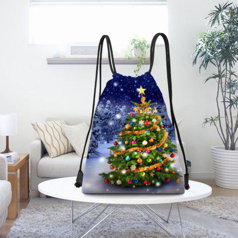 snowy christmas tree pattern drawstring candy storage bag bluegreen