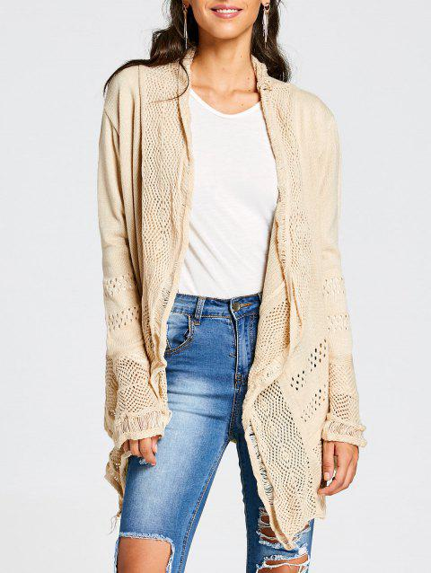 Chic Hollow Out Solid Color Irregular Cardigan For Women - KHAKI S