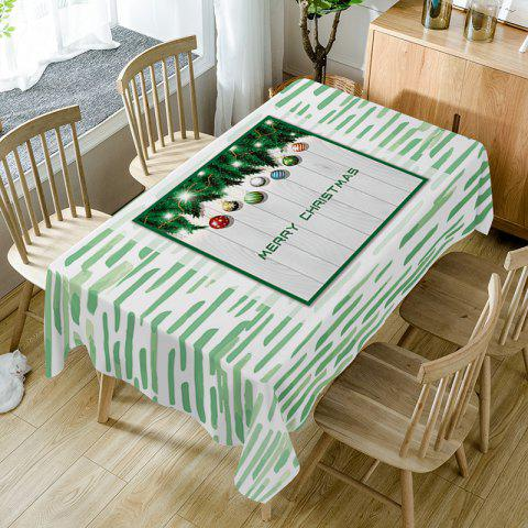 Merry Christmas Baubles Print Waterproof Table Cloth - GREEN W54 INCH * L72 INCH