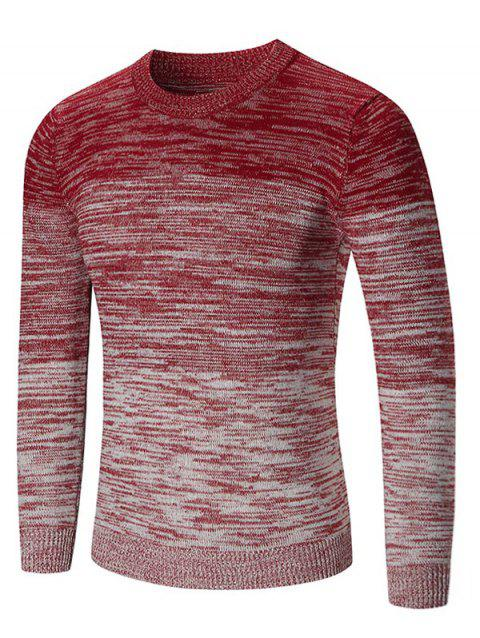 Ombre Space Dyed Crew Neck Sweater - RED L