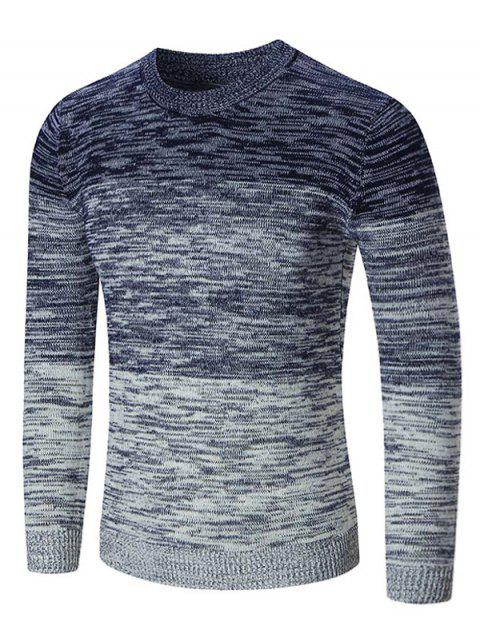 Ombre Space Dyed Crew Neck Sweater - BLUE L