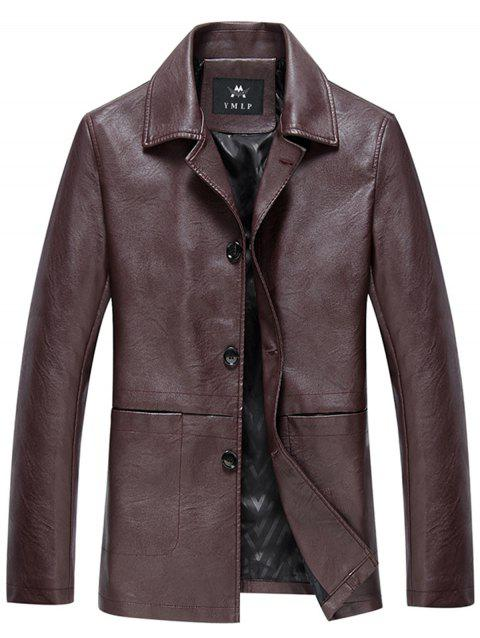 Single Breasted PU Leather Jacket - DARK RED XL