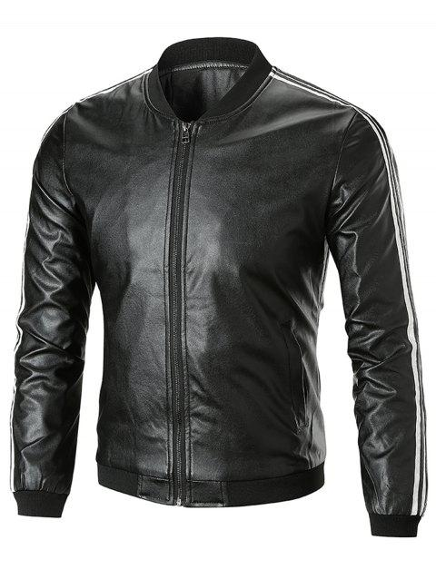 Zip Up Stripe Trim Artificial Leather Jacket - BLACK XL