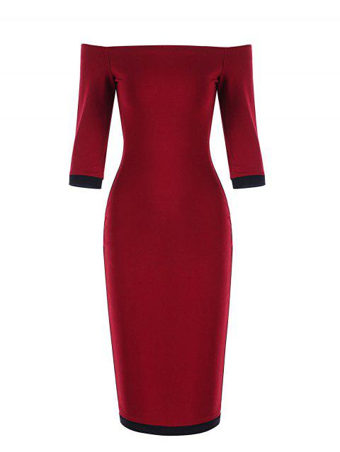 Off The Shoulder Bodycon Two Tone Dress - RED/BLACK S