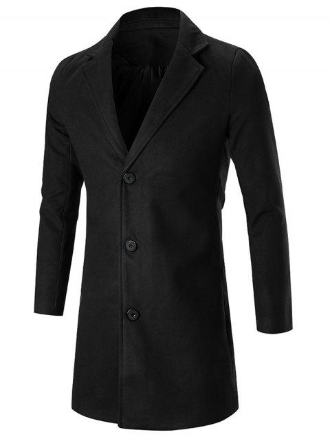 Manteau de mélange de laine de revers de cran simple d'encolure - Noir 5XL