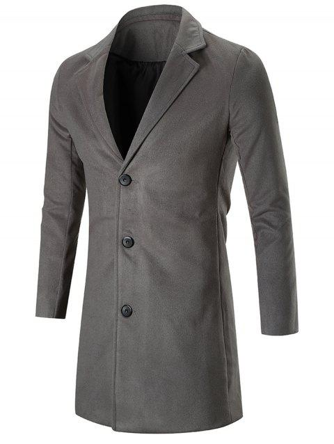 Manteau de mélange de laine de revers de cran simple d'encolure - DEEP GRAY XL