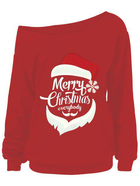 Christmas Plus Size Skew Neck Print Sweatshirt - RED 5XL