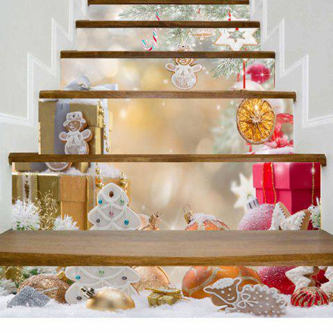 Christmas Ornaments Gift Printed Stair Stickers - COLORMIX 100*18CM*6PCS