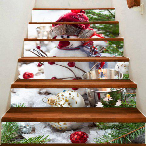 Cute Snowman Pattern Decoration Stair Decals - COLORFUL 100*18CM*6PCS