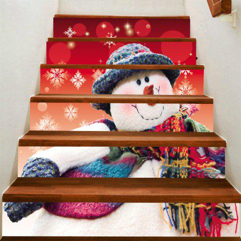 Snowman with Scarf Hat Print Stair Stickers - COLORFUL 100*18CM*6PCS