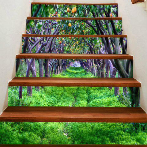 Autocollants d'Escaliers Décoratifs DIY Motif Verger d'Arbres Fruitiers - Vert 100*18CM*6PCS