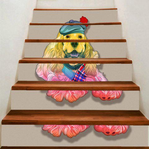 Cute Dog Printed DIY Stair Stickers - COLORFUL 100*18CM*6PCS