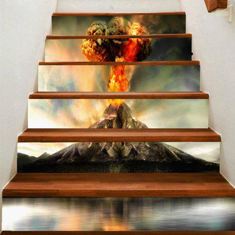 Éruption de volcano motif décoratif escalier autocollants - Gris 100*18CM*6PCS