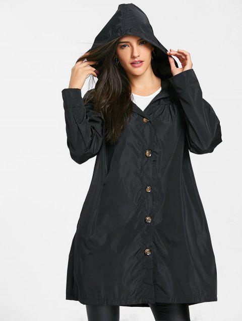 Hooded Single Breasted Coat - BLACK M