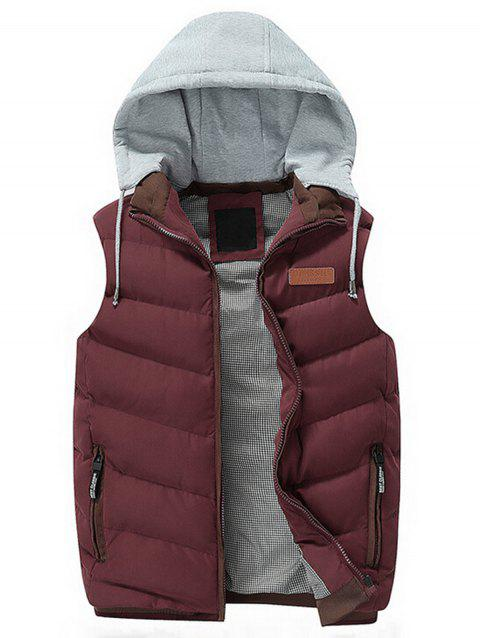 Lightweight Winter Warm Hooded Vest - RED 2XL