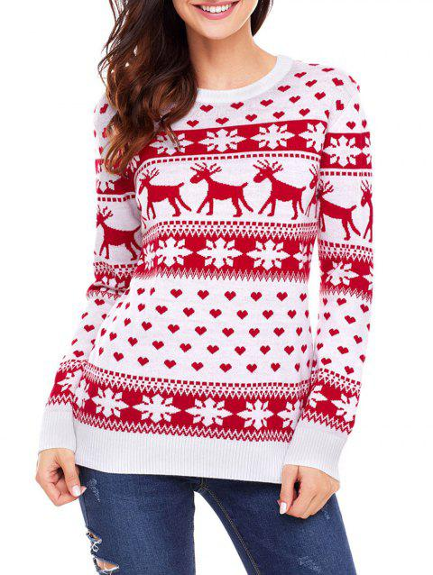 Christmas Deer Snowflake Heart Jacquard Sweater - RED M