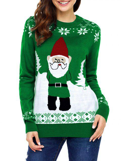 Christmas Snowflake and Santa Claus Jacquard Sweater - GREEN M