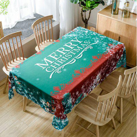 Merry Christmas Greetings Print Waterproof Table Cloth - GREEN W54 INCH * L72 INCH