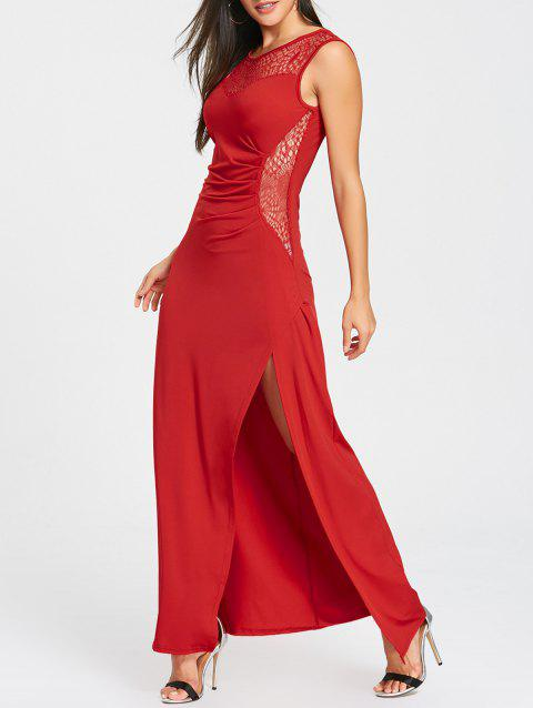 High Slit Draped Maxi Party Dress - RED S