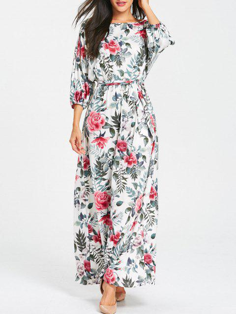 Belted Floral Print Batwing Sleeve Maxi Dress - GRAY 2XL