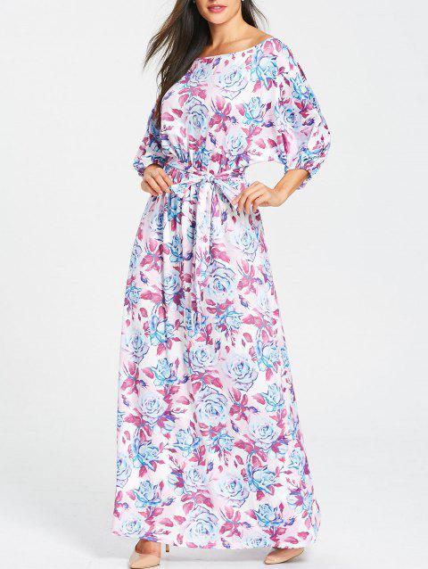 Belted Floral Print Batwing Sleeve Maxi Dress - PURPLE L