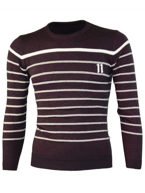 Number Jacquard - Pull ras du cou à rayures - Rouge vineux ONE SIZE(FIT SIZE XS TO M)