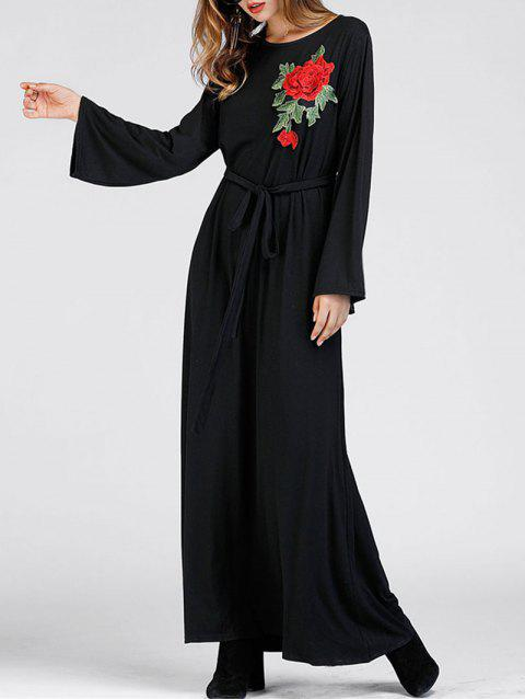Floral Embroidered Party Maxi Dress - BLACK S