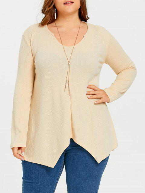 Plus Size  Ribbed Knit  Asymmetric Sweater - KHAKI 4XL