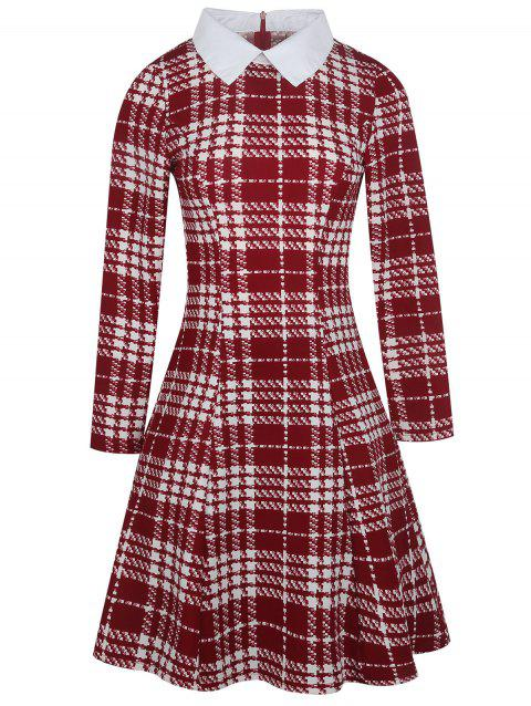 727ffe4d845 41% OFF  2019 Vintage Knee Length Plaid Dress In RED XL