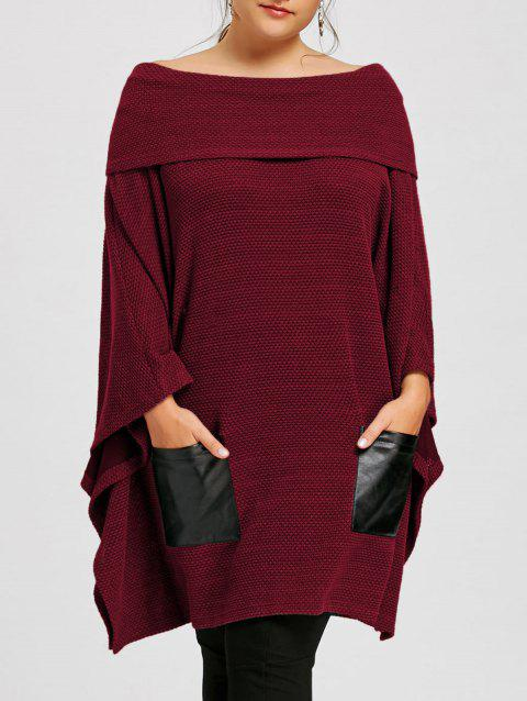 Plus Size Batwing Sleeve Off The Shoulder Top - WINE RED 5XL