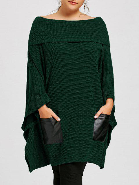Plus Size Batwing Sleeve Off The Shoulder Top - GREEN 5XL
