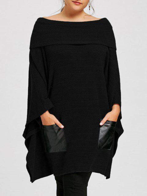 Plus Size Batwing Sleeve Off The Shoulder Top - BLACK 5XL