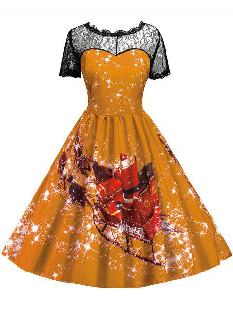 Vintage Printed Lace Insert Christmas Pin Up Dress - GINGER L