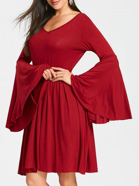 Cut Out Bell Sleeve Mini Skater Dress - WINE RED M