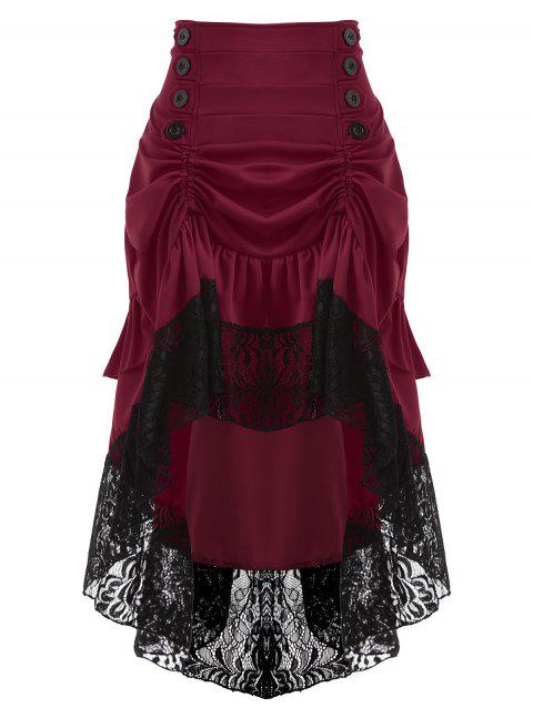Lace Insert High Waisted Midi Party Skirt - WINE RED 2XL