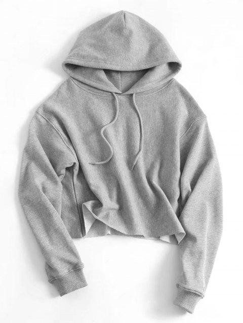 55a3b6e6ad3b1 41% OFF  2019 Plain Cropped Drawstring Hoodie In GRAY S