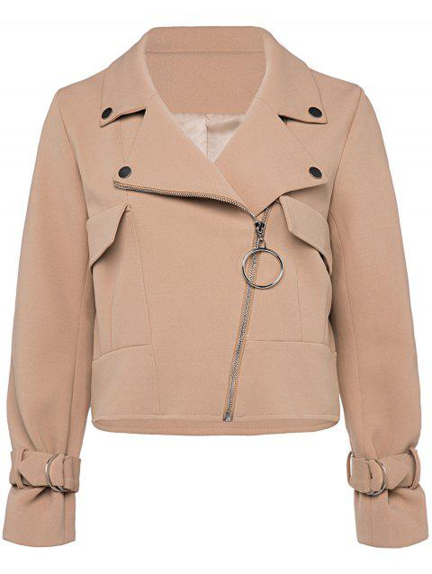 Zip Up Cropped Jacket - KHAKI L