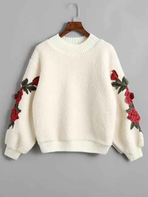 Sweat-shirt en Peau de Mouton à Applique Florale - Blanc Cassé ONE SIZE
