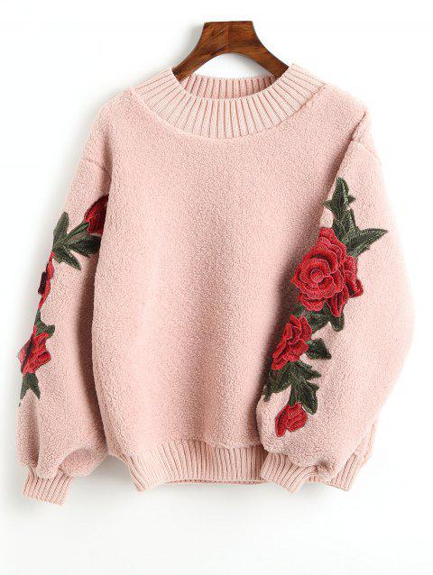 Sweat-shirt en Peau de Mouton à Applique Florale - Rose Léger ONE SIZE
