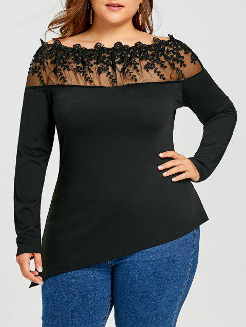 Plus Size Asymmetric Sheer Embroidered Long Sleeve T-shirt - BLACK 4XL