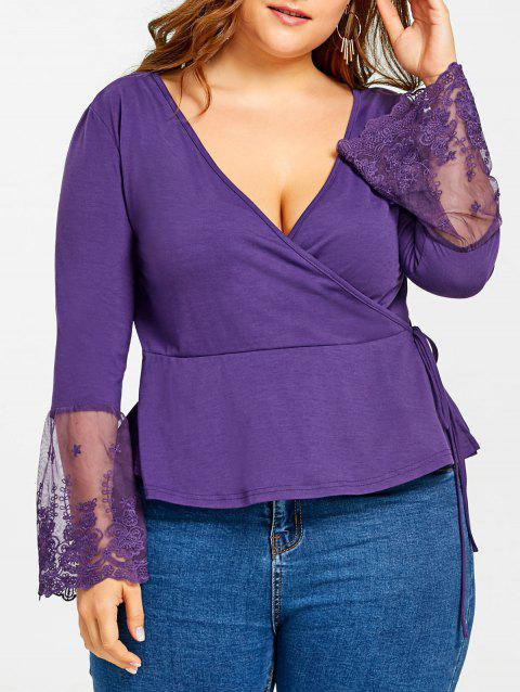 Plus Size Long Sleeve Lace Insert Surplice Top with Ties - PURPLE 4XL