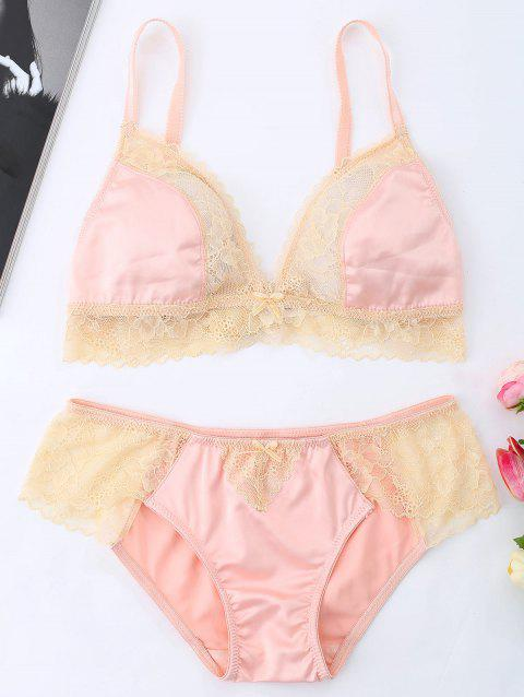 Lace Trim Bralette Set - ORANGEPINK XL