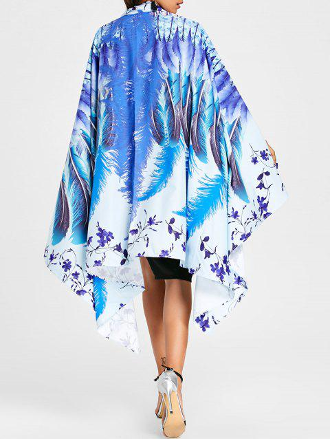 Asymmetrical Floral Feather Print Cape - BLUE ONE SIZE