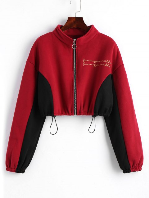 Zip Up Letter Cat Embroidered Cropped Sweatshirt - WINE RED ONE SIZE