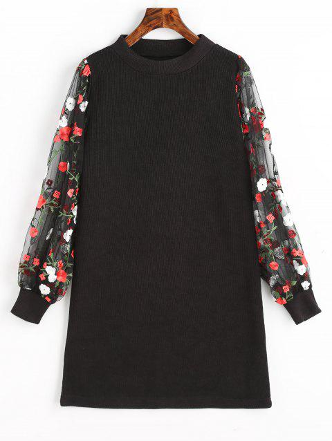 Mesh Panel Floral Mini Knit Dress - BLACK XL